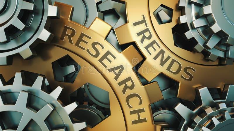 事务,技术 趋向研究概念 金子和银色链轮背景例证 3d回报 免版税库存图片