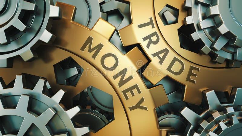 事务,技术 金钱商业概念 金子和银色链轮背景例证 3d例证 免版税库存图片