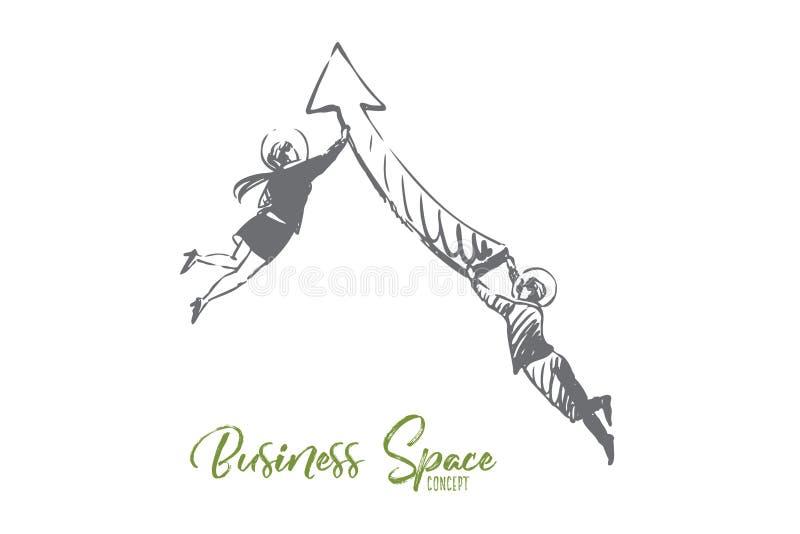 事务,空间,衣服,箭头,人们,飞行概念 r 皇族释放例证