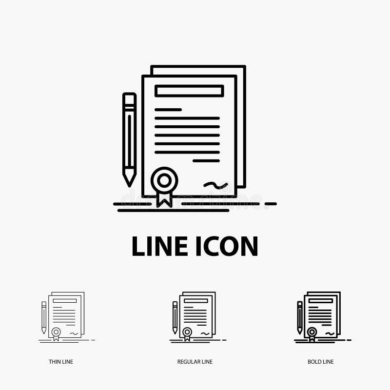 事务,证明,合同,程度,在稀薄,规则和大胆的线型的文件象 r 向量例证