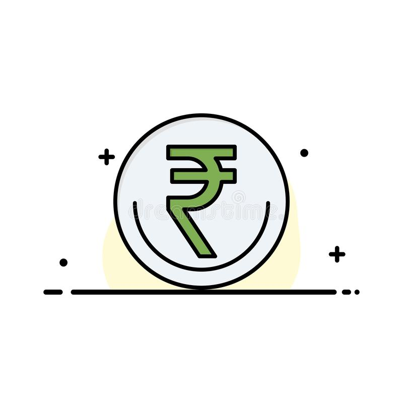 事务,货币,财务,印度人,Inr,卢比,商业企业平的线被填装的象传染媒介横幅模板 向量例证