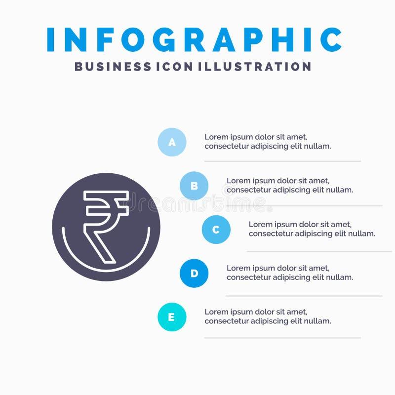 事务,货币,财务,印度人,Inr,卢比,商业坚实象Infographics 5步介绍背景 向量例证