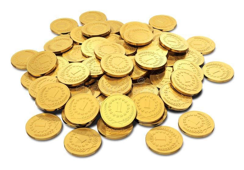金黄硬币堆  向量例证