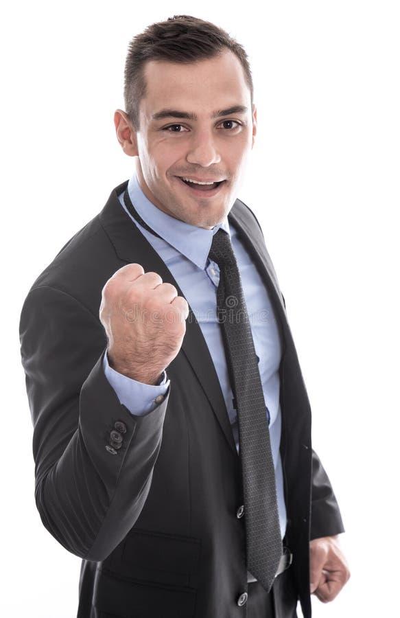 事务:衣服的成功的与面对照相机的拳头的人和领带 免版税库存照片
