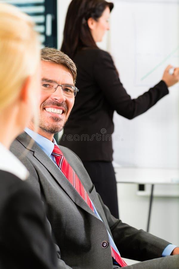 事务-买卖人开队会议 库存图片