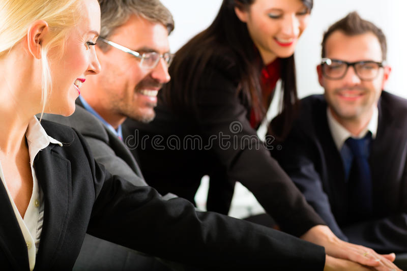 事务-买卖人开队会议 免版税库存照片
