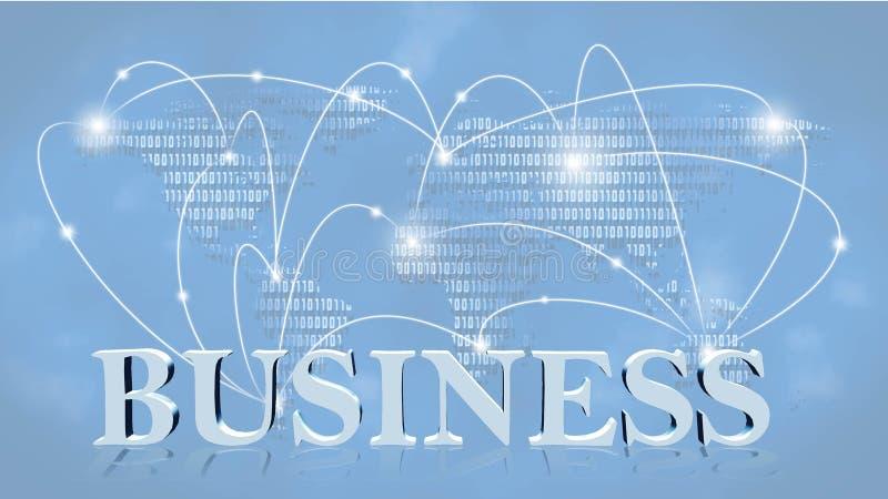 事务-3D在背景影像事务或全球网络前面的互联网概念的信件 库存例证