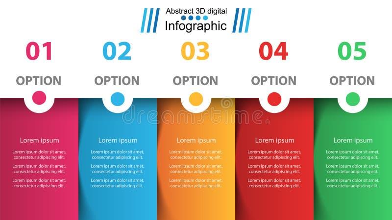 事务Infographic 五个纸项目 向量例证