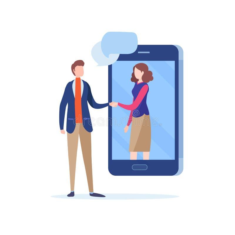 事务people'手震动;s 网上成交 通信,合作,连接,平的动画片例证传染媒介 向量例证