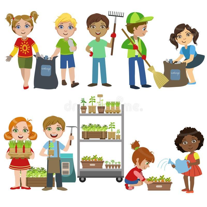 从事园艺和拾起垃圾集合的孩子 库存例证