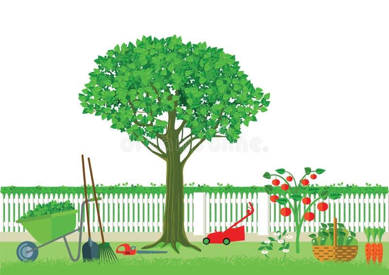从事园艺和收获 库存例证