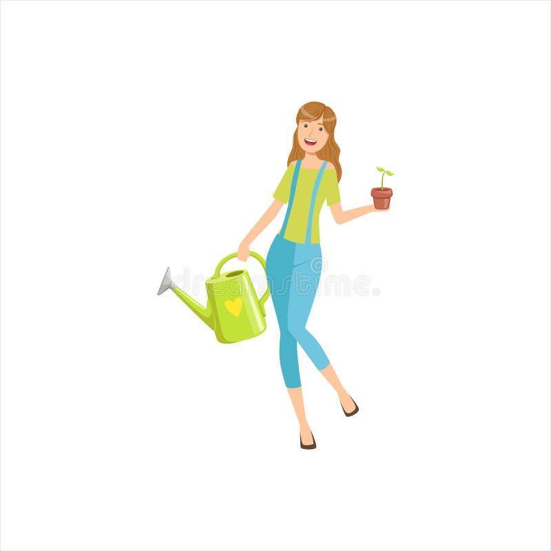 从事园艺愉快的女孩在有喷壶的罐的庭院和植物中,一部分的妇女另外生活方式收藏 向量例证