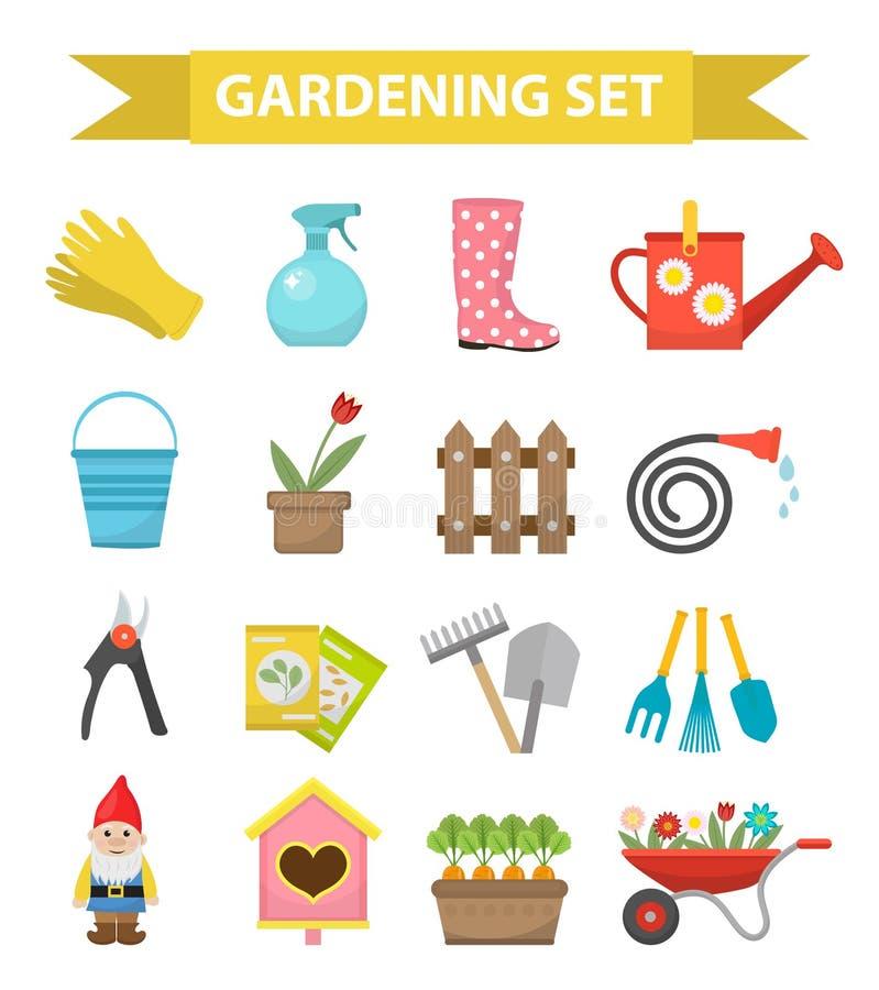 从事园艺的象集合,平的样式 庭院和果树园汇集用工具加工装饰,隔绝在白色背景 向量 皇族释放例证