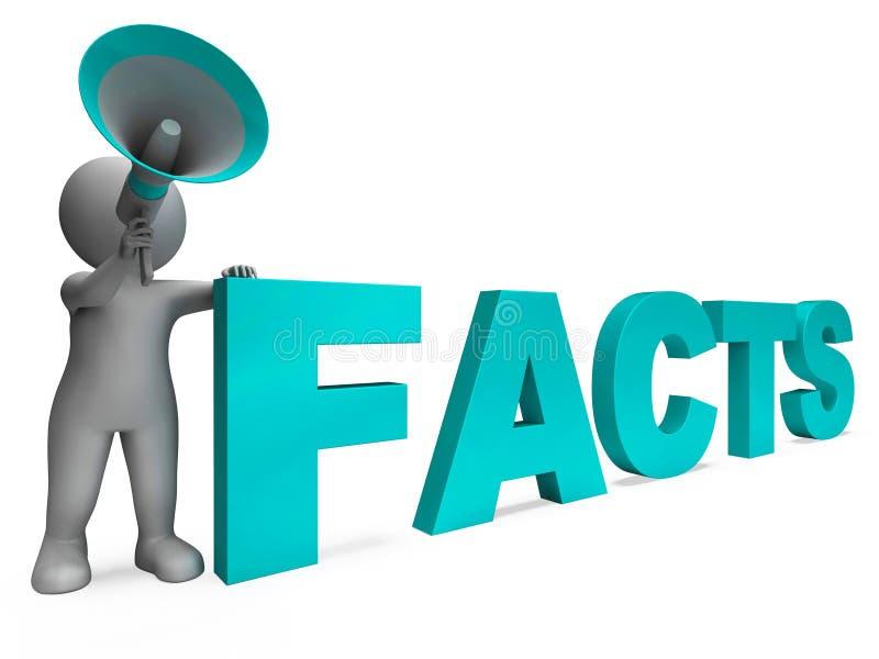 事实字符显示详细信息和知识 库存例证
