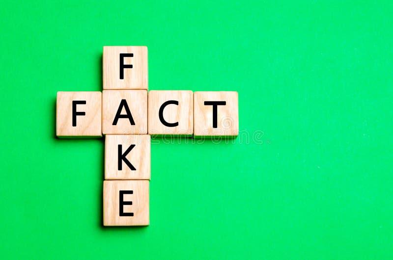 事实或伪造品概念,在新闻和信息的构想 免版税库存图片