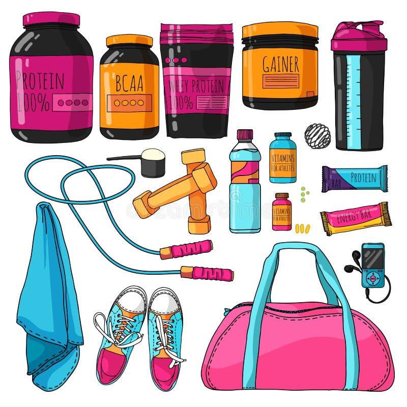 事彩色组健身和体育营养的 与蛋白质、振动器、维生素和蛋白质酒吧的一个集合 体育运动 皇族释放例证