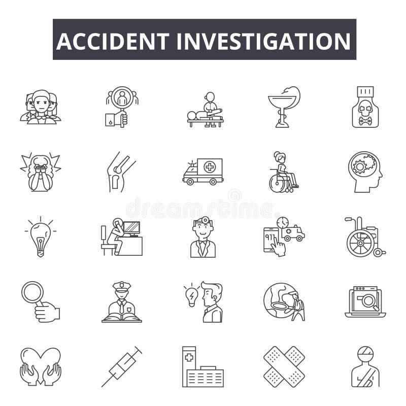 事故调查线象 编辑可能的冲程标志 概念象:车祸,调查员,检查,警察,路 库存例证