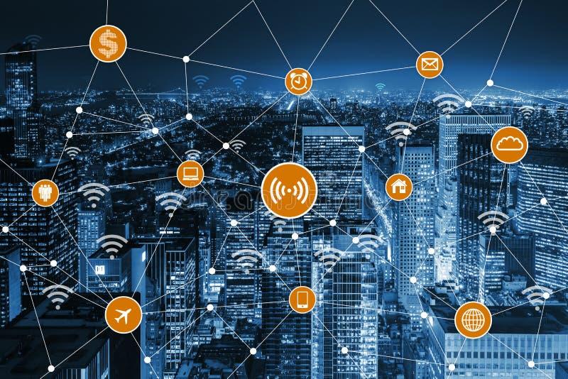 事概念互联网在城市 库存例证