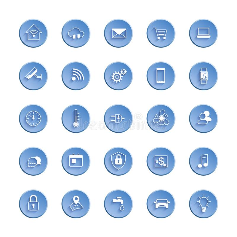 事网象集合互联网  象套自动化系统和聪明的家庭控制 也corel凹道例证向量 向量例证