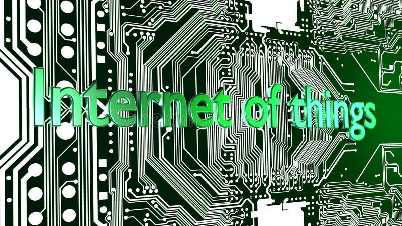 事词互联网以在电路板顶部的绿色 皇族释放例证