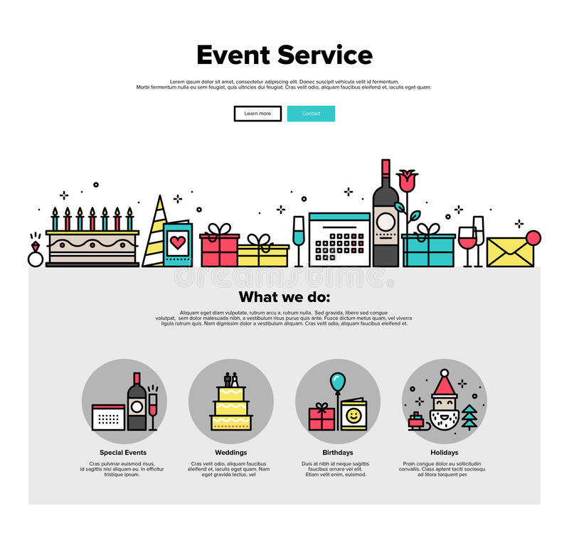 事件提供清洁服务或膳食的公寓线网图表 库存例证