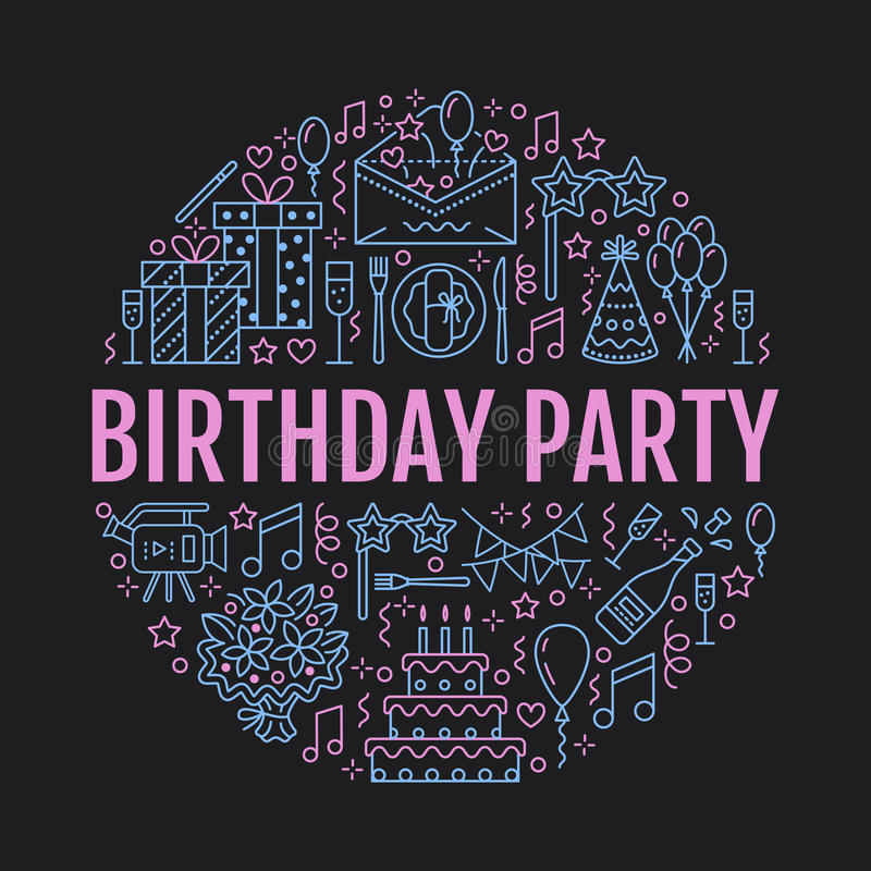 事件机构,与传染媒介线承办酒席象,生日蛋糕,气球装饰,花的生日聚会横幅 向量例证