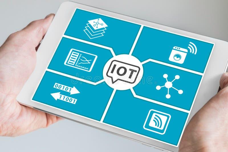 事(IoT)概念互联网  拿着现代智能手机的手 免版税库存照片
