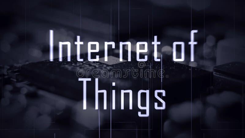 事IOT互联网题为有微集成电路背景 库存图片
