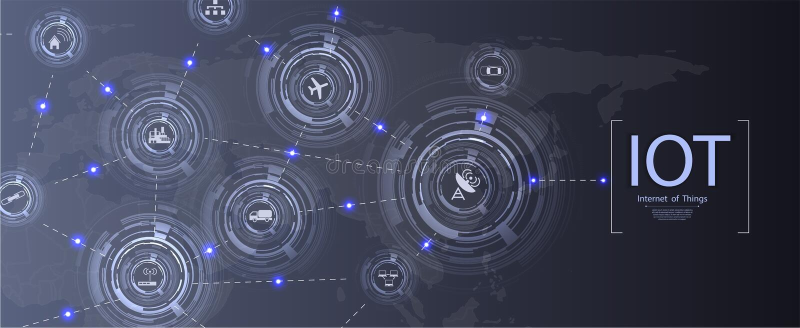 事IoT和被连接的设备的网络概念互联网  向量例证