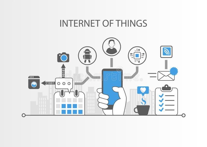 事IOT概念互联网与简单的象的在灰色背景 向量例证