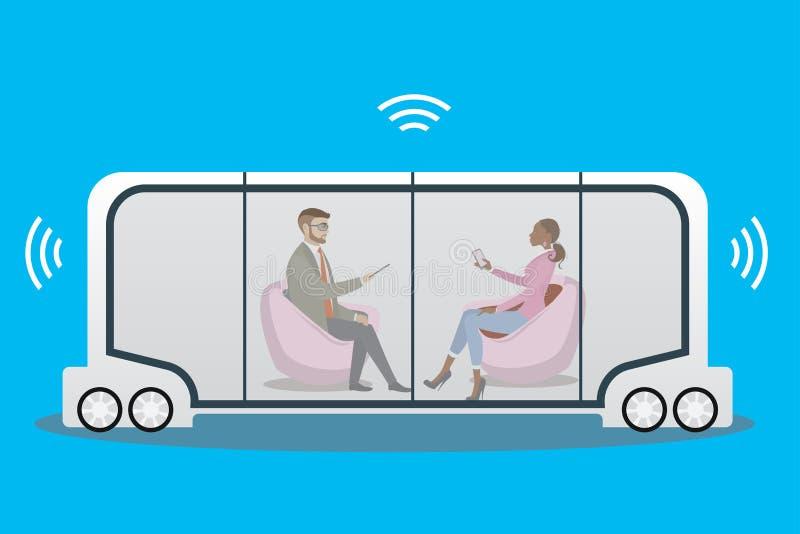 事iot概念自博士自治汽车或公共汽车和互联网  库存例证