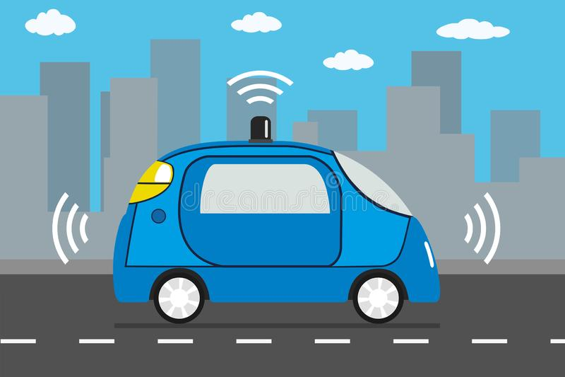 事iot概念自驾驶的c自治汽车和互联网  库存例证