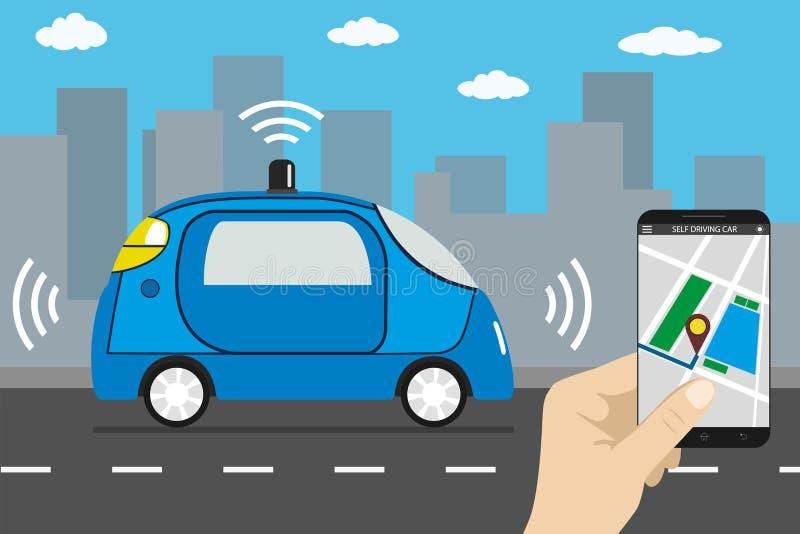 事iot概念自驾驶的c自治汽车和互联网  向量例证