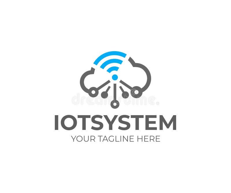 事IOT,商标模板互联网  网络云彩和Wi-Fi发信号,导航设计 向量例证