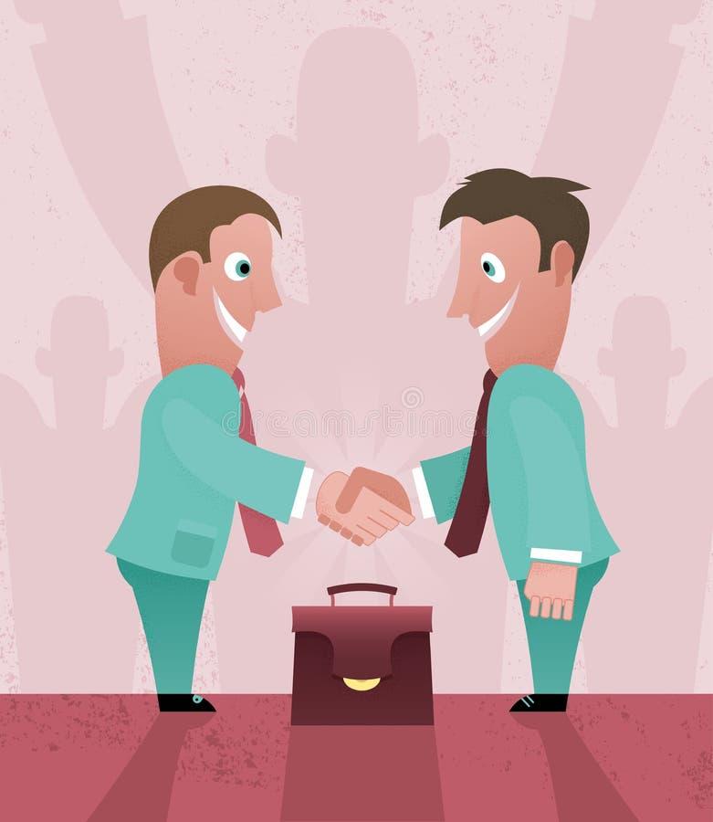 二个动画片生意人握手 库存例证