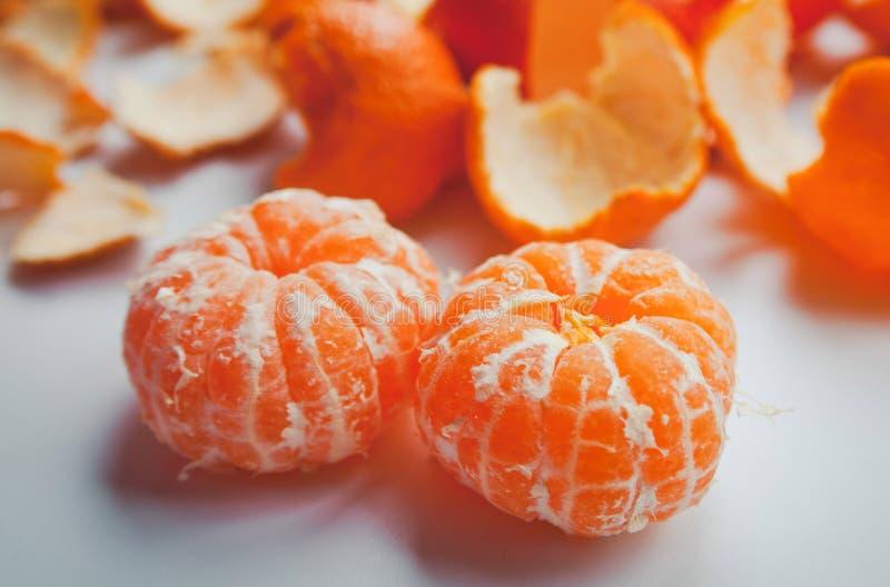 二个橙色蜜桔 库存图片