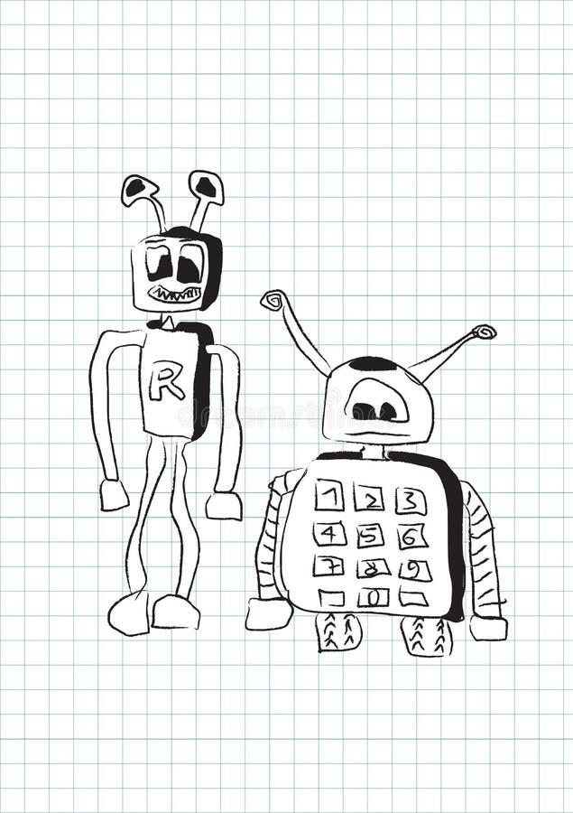 二个滑稽的愚笨的机器人,乱画样式 向量例证