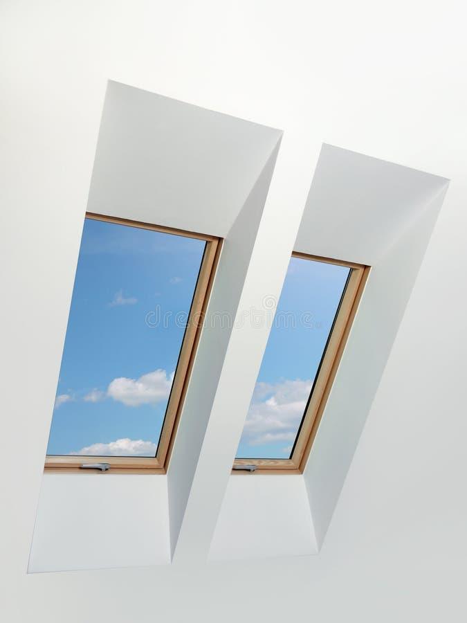 二个顶楼窗口 库存图片