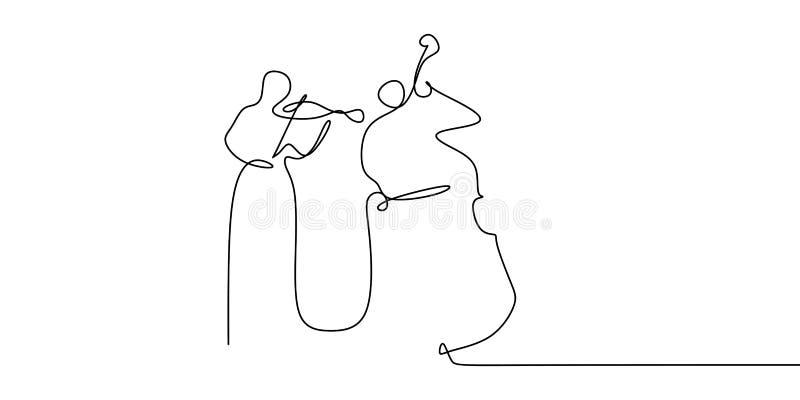 二人使用的大提琴和小提琴连续的一线描古典音乐题材 库存例证