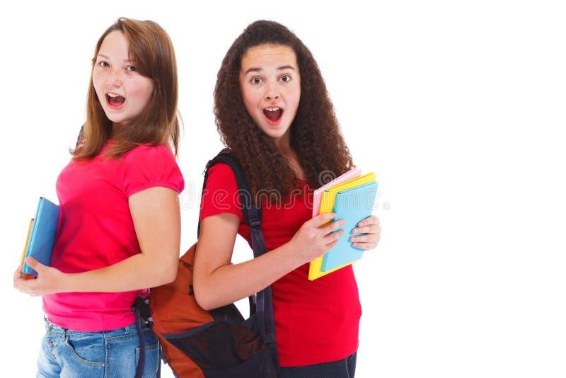 二使十几岁的女孩惊奇 免版税库存照片