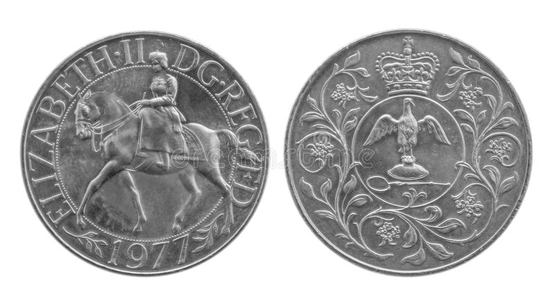 1977二十五周年纪念冠硬币 马和加冕王权 库存图片