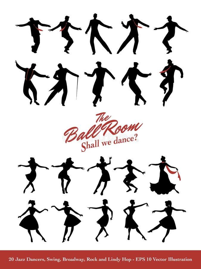 二十位爵士乐舞蹈家 摇摆、百老汇、岩石和林迪舞单脚跳 向量例证