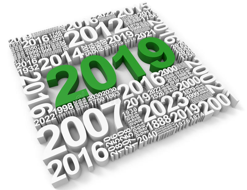 二十十九表明2019个新年和每年3d翻译 皇族释放例证