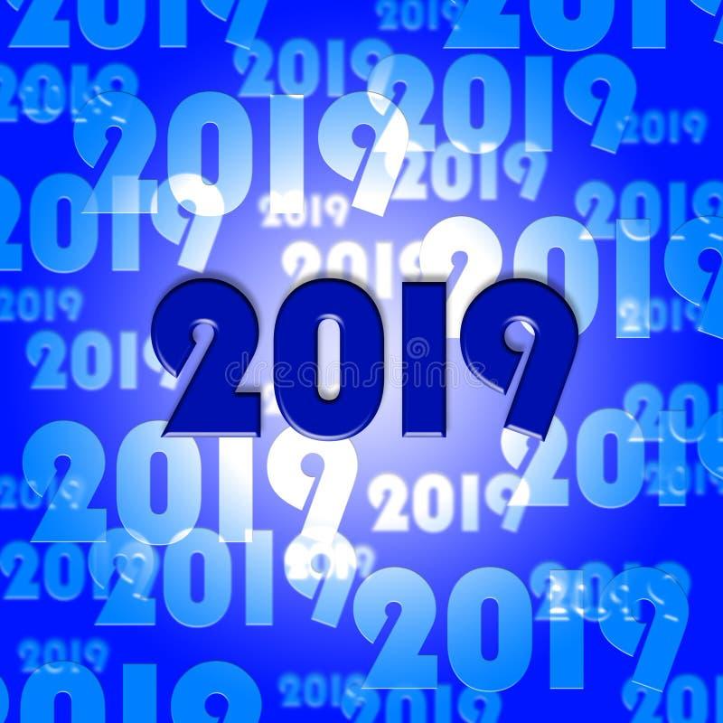 二十十九表明2019个新年并且庆祝 皇族释放例证