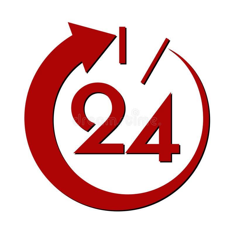 二十四个时数服务符号 向量例证