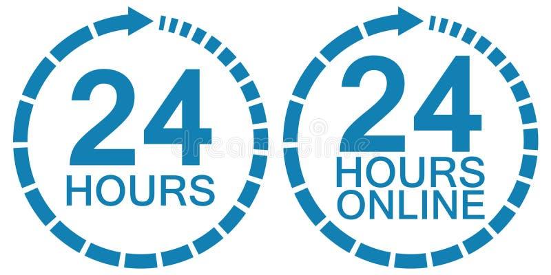 24二十四小时时钟联机服务商标传染媒介24个小时标志小时,在网上运行围绕时钟的服务 向量例证