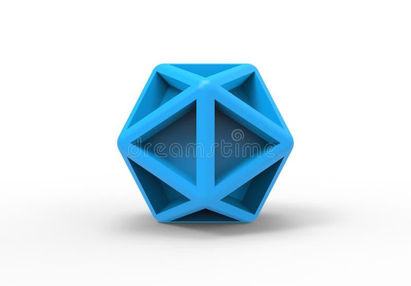 二十面体几何3d对象 向量例证