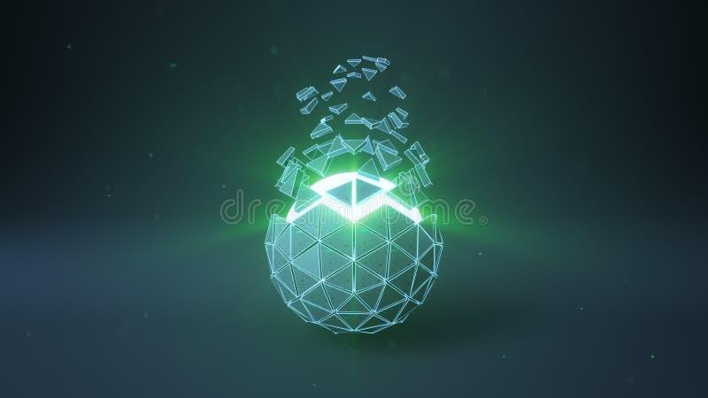 二十面体球形状和小野鸭发光的核心3D回报 向量例证