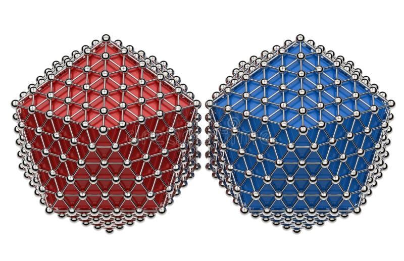 二十面体红色和蓝色概念 向量例证