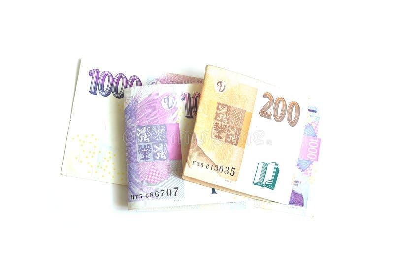 二千个和二百个捷克冠 免版税库存照片